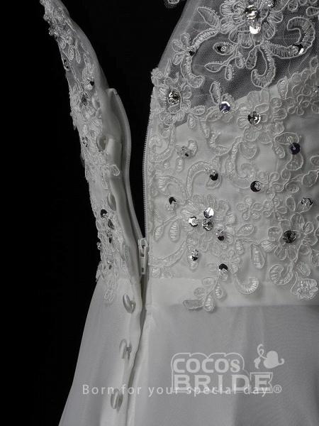 New Romantic Summer Bridal Dress Sleeveless Lace Wedding Dress_5