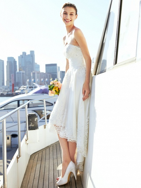 A-Line Wedding Dresses Strapless Asymmetrical Tulle Strapless Casual Beach Little White Dress Backless_8