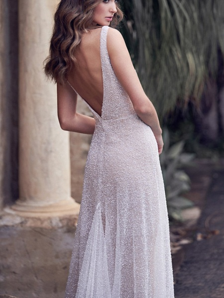 A-Line Wedding Dresses V Neck Court Train Tulle Sleeveless Vintage Sexy Wedding Dress in Color See-Through_8