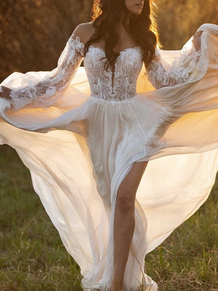 A-Line Wedding Dresses Off Shoulder Court Train Lace Satin Long Sleeve