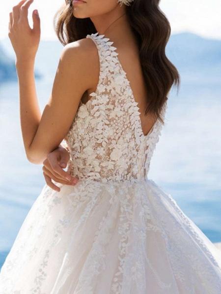 A-Line Wedding Dresses V Neck Sweep \ Brush Train Tulle Charmeuse Regular Straps Illusion Sleeve_2