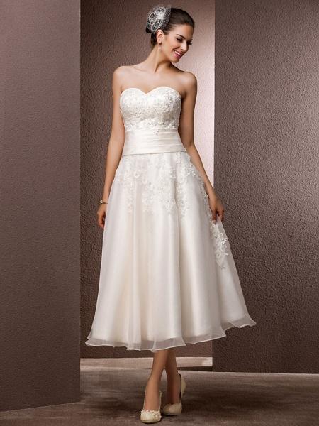 A-Line Wedding Dresses Bateau Neck Tea Length Organza Floral Lace Regular Straps Formal Casual Illusion Detail_9