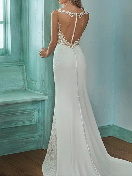 Mermaid \ Trumpet V Neck Sweep \ Brush Train Lace Polyester Sleeveless Casual Plus Size Wedding Dresses_3