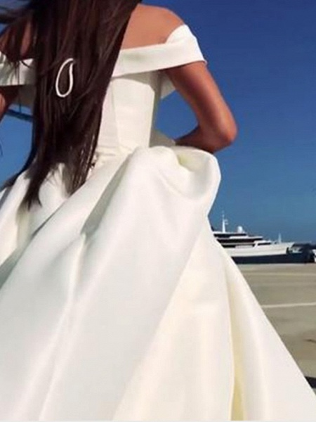 A-Line Wedding Dresses Off Shoulder Court Train Satin Chiffon Over Satin Short Sleeve Sexy_2