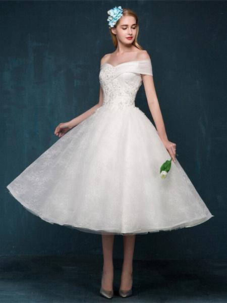 A-Line Wedding Dresses Off Shoulder Tea Length Beaded Lace Short Sleeve Casual Vintage Plus Size Cute_5