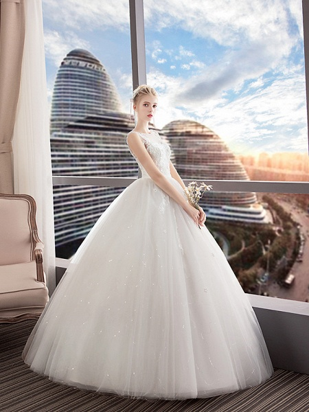 A-Line Wedding Dresses Jewel Neck Floor Length Lace Tulle Polyester Regular Straps Formal Sexy See-Through Illusion Detail_5