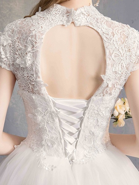 Ball Gown Wedding Dresses High Neck Floor Length Lace Tulle Lace Over Satin Short Sleeve Vintage Illusion Sleeve_9