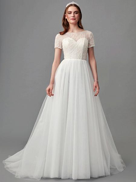 A-Line Wedding Dresses Jewel Neck Sweep \ Brush Train Lace Satin Tulle Short Sleeve 3\4 Length Sleeve Sexy_5