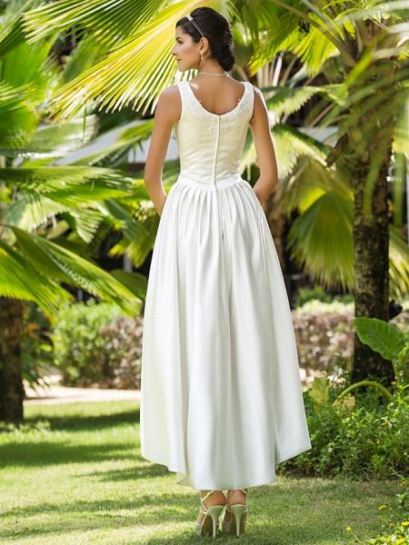 Princess A-Line Wedding Dresses Scoop Neck Asymmetrical Satin Sleeveless_5