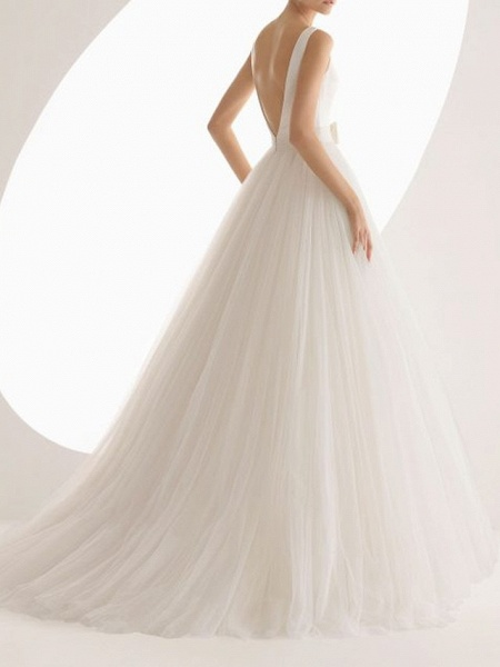Ball Gown Wedding Dresses Bateau Neck Sweep \ Brush Train Satin Tulle Regular Straps Simple Backless_2