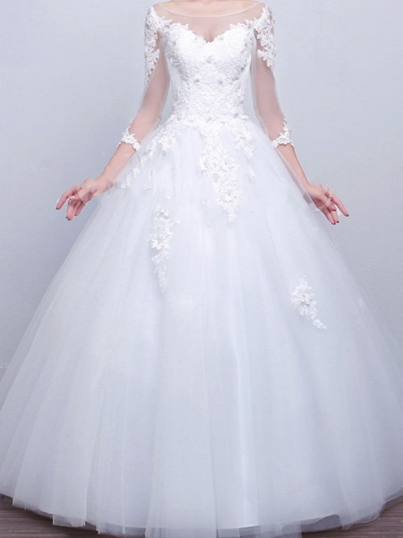 Ball Gown Wedding Dresses V Neck Sweep \ Brush Train Lace Satin Tulle Long Sleeve Formal_1