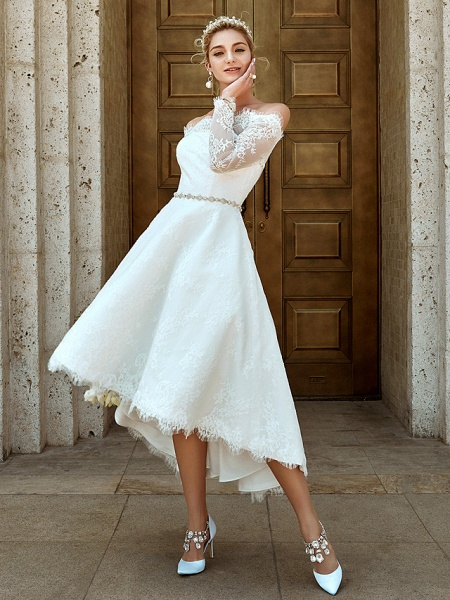 A-Line Wedding Dresses Off Shoulder Asymmetrical Lace Long Sleeve Casual Plus Size Illusion Sleeve_6