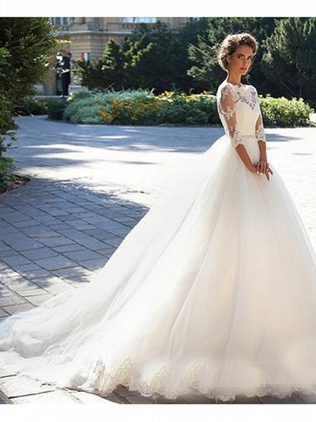 A-Line Wedding Dresses Off Shoulder Court Train Lace 3\4 Length Sleeve Casual Beach Vintage Illusion Sleeve_1