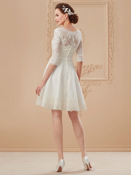 A-Line Wedding Dresses V Neck Knee Length All Over Lace 3\4 Length Sleeve Formal Casual Vintage Cute Illusion Sleeve_13