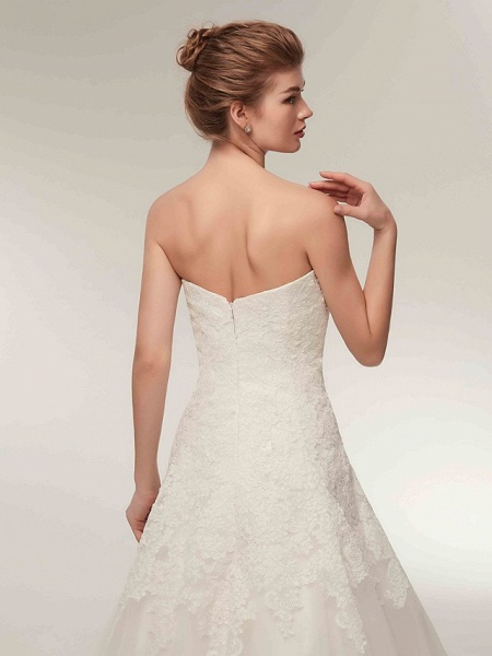 A-Line Wedding Dresses Strapless Floor Length Lace Tulle Strapless Formal Illusion Detail_9