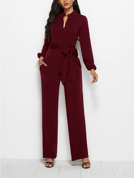 Women's Ordinary \ Business Wine Black Red Jumpsuit_5
