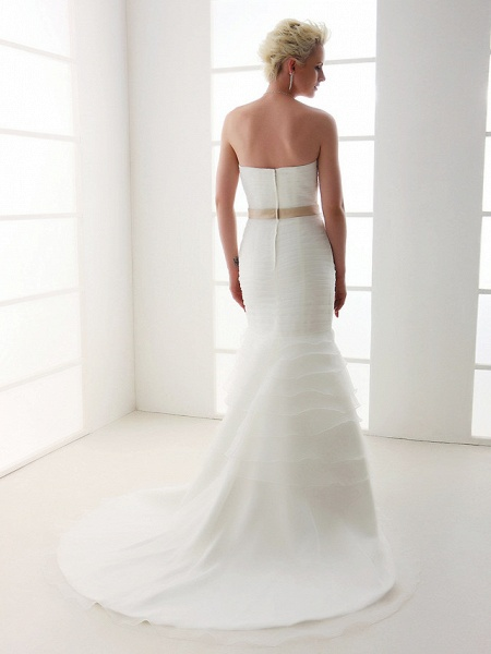 Mermaid \ Trumpet Wedding Dresses Sweetheart Neckline Court Train Organza Satin Sleeveless_2