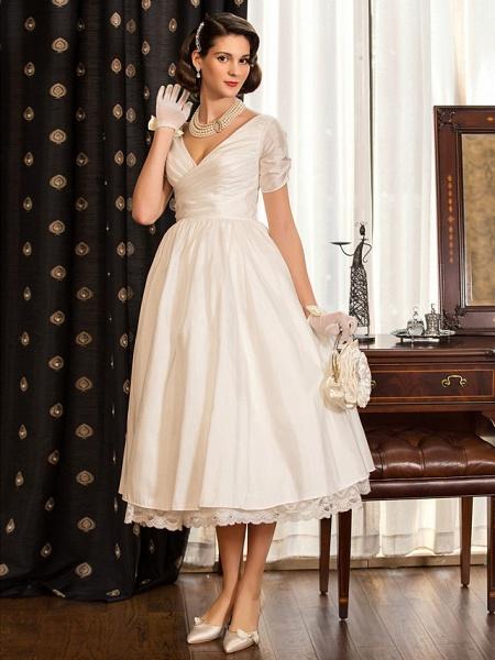A-Line Wedding Dresses V Neck Tea Length Taffeta Short Sleeve Vintage Little White Dress 1950s_3