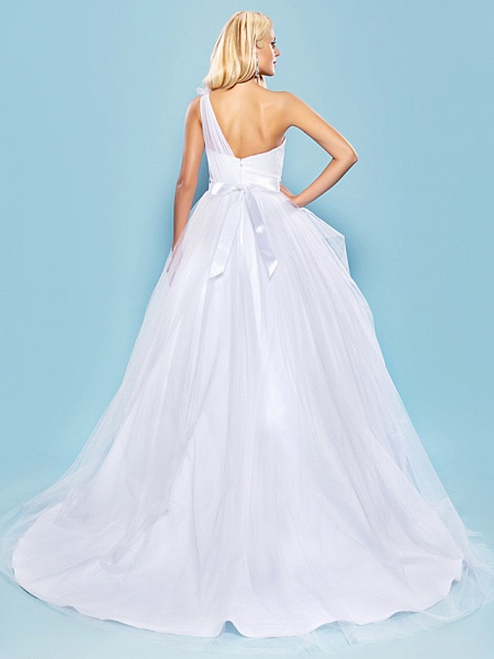Ball Gown Wedding Dresses One Shoulder Court Train Tulle Sleeveless_4