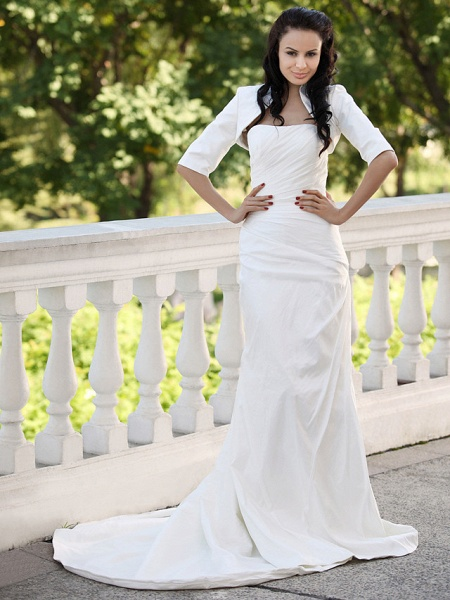 Mermaid \ Trumpet Wedding Dresses Strapless Court Train Taffeta Short Sleeve