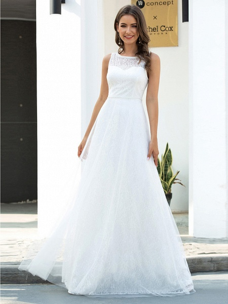 A-Line Wedding Dresses Jewel Neck Floor Length Lace Tulle Sleeveless Country Casual_4