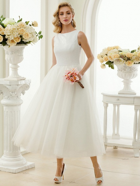 A-Line Wedding Dresses Bateau Neck Tea Length Tulle Sequined Regular Straps Simple Little White Dress_4