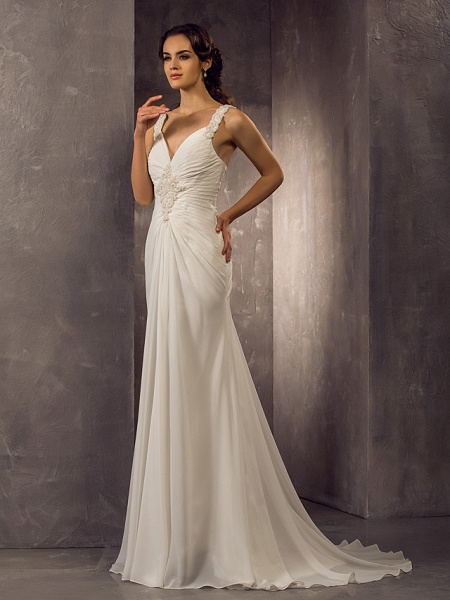 Sheath \ Column Wedding Dresses Sweetheart Neckline Sweep \ Brush Train Chiffon Regular Straps_4
