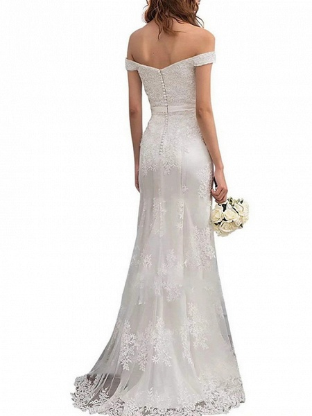 Sheath \ Column Wedding Dresses Off Shoulder Floor Length Lace Regular Straps Romantic Illusion Detail_2