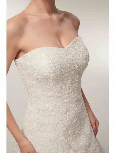 A-Line Wedding Dresses Strapless Floor Length Lace Tulle Strapless Formal Illusion Detail_10