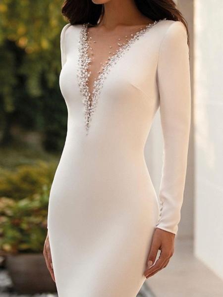 Mermaid \ Trumpet Jewel Neck Court Train Satin Long Sleeve Sexy See-Through Wedding Dresses_1