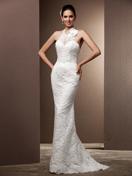 Mermaid \ Trumpet Wedding Dresses Halter Neck Sweep \ Brush Train Lace Regular Straps Open Back_1