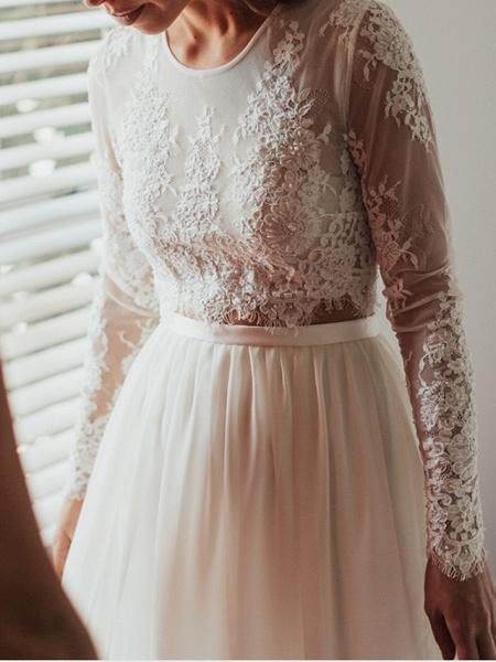 A-Line Wedding Dresses Jewel Neck Sweep \ Brush Train Lace Chiffon Over Satin Long Sleeve Beach Boho Sexy See-Through_3