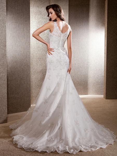 Mermaid \ Trumpet Wedding Dresses Scoop Neck Sweep \ Brush Train Lace Tulle Sleeveless_2