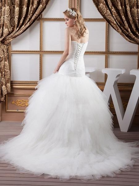 Mermaid \ Trumpet Sweetheart Neckline Court Train Satin Tulle Strapless Sexy Wedding Dresses_3
