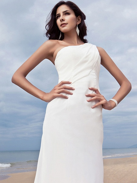 Sheath \ Column Wedding Dresses One Shoulder Sweep \ Brush Train Chiffon Regular Straps Simple Plus Size_5