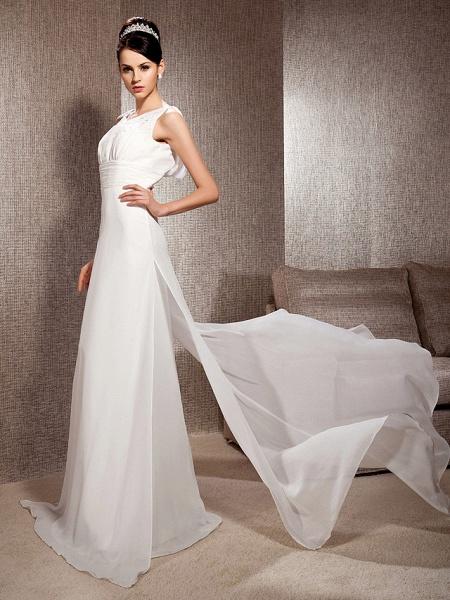 Sheath \ Column Scoop Neck Court Train Chiffon Sleeveless Wedding Dresses_3