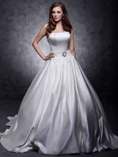 Princess Wedding Dresses Strapless Chapel Train Satin Sleeveless_5
