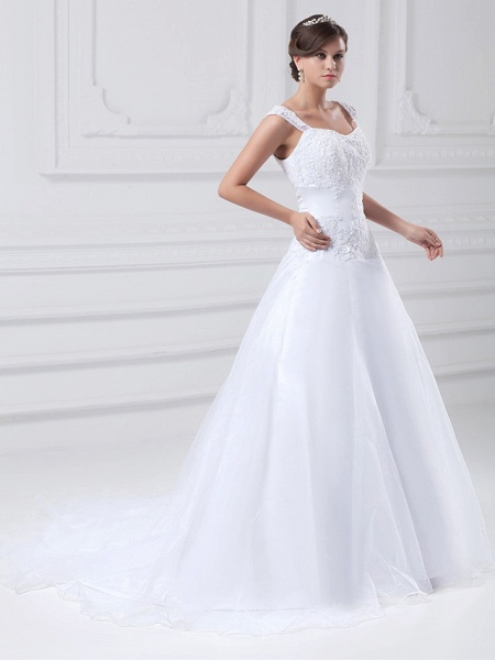 A-Line Wedding Dresses Square Neck Chapel Train Lace Organza Satin Regular Straps_3