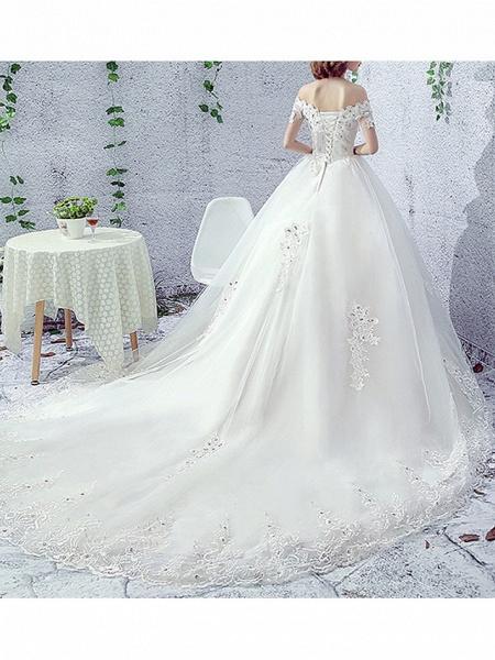 A-Line Wedding Dresses Off Shoulder Sweep \ Brush Train Lace Short Sleeve Beach Illusion Sleeve_2