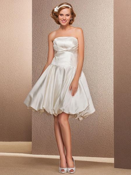 Ball Gown A-Line Wedding Dresses Strapless Knee Length Satin Sleeveless Little White Dress_1