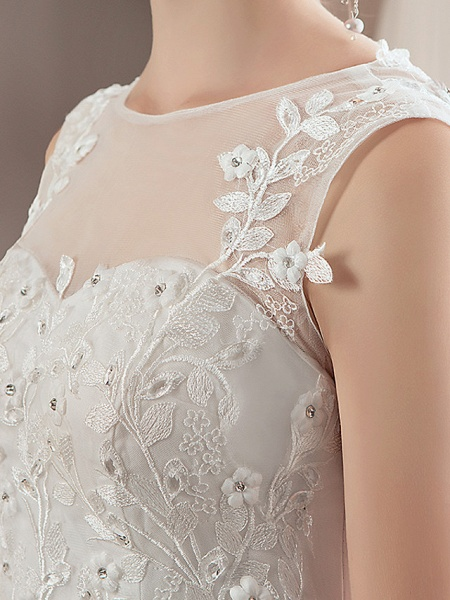 A-Line Wedding Dresses Jewel Neck Floor Length Lace Tulle Polyester Regular Straps Formal Sexy See-Through Illusion Detail_8