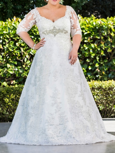 A-Line Scoop Neck Sweep \ Brush Train Lace Tulle Half Sleeve Country Plus Size Wedding Dresses_1