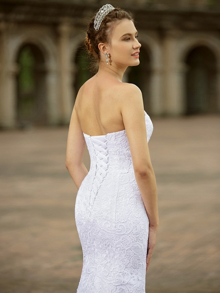 Mermaid \ Trumpet Wedding Dresses Sweetheart Neckline Sweep \ Brush Train Lace Strapless Country Plus Size_5