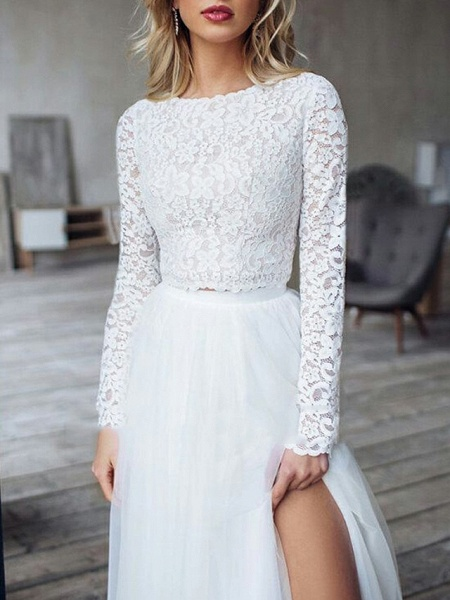 A-Line Wedding Dresses Jewel Neck Sweep \ Brush Train Lace Long Sleeve Romantic Boho See-Through Illusion Detail Backless_3