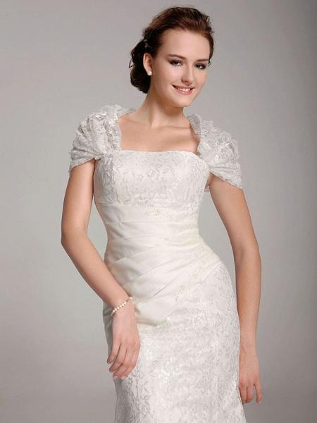 Mermaid \ Trumpet Wedding Dresses Straps Floor Length Lace Short Sleeve See-Through_5