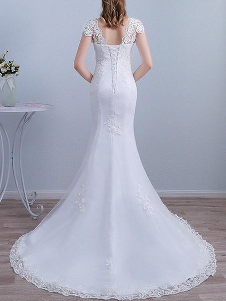 Mermaid \ Trumpet Wedding Dresses V Neck Sweep \ Brush Train Lace Short Sleeve Beach_3