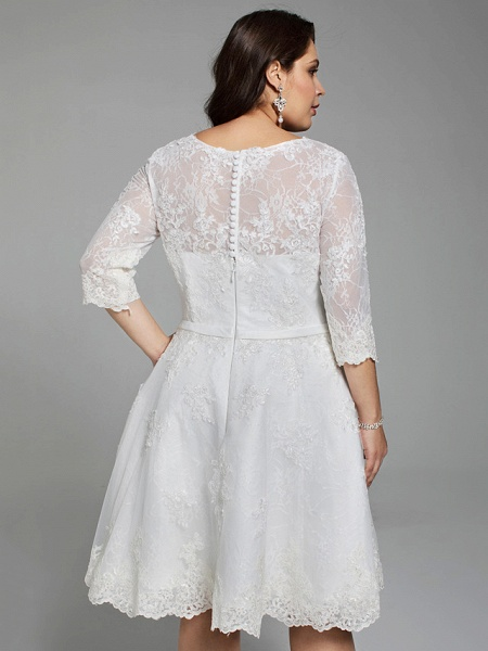 A-Line Wedding Dresses V Neck Knee Length All Over Lace 3\4 Length Sleeve Casual Vintage See-Through Illusion Detail Backless_6