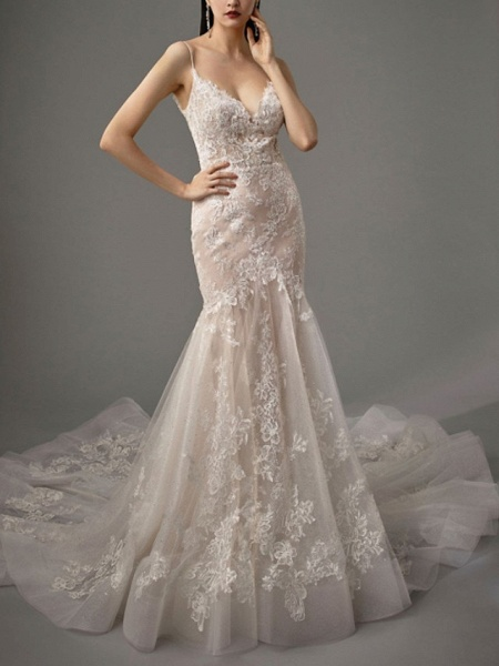 Mermaid \ Trumpet Wedding Dresses Spaghetti Strap Sweep \ Brush Train Lace Tulle Sleeveless Sexy See-Through Backless_2