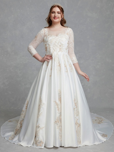 A-Line Wedding Dresses Scoop Neck Court Train Lace Satin Long Sleeve Romantic Glamorous See-Through Illusion Sleeve_1