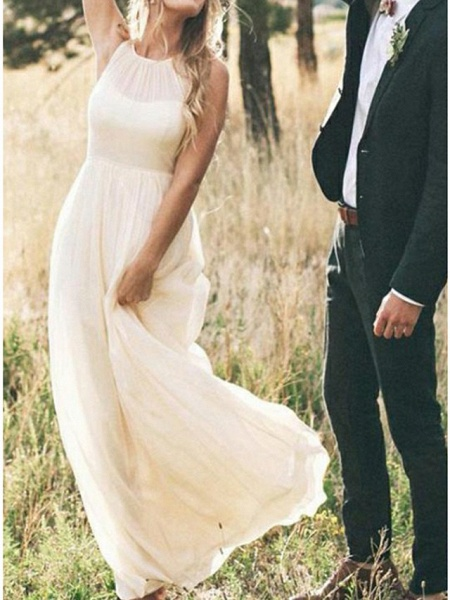 A-Line Wedding Dresses Jewel Neck Sweep \ Brush Train Chiffon Regular Straps Country Simple Casual Plus Size_3